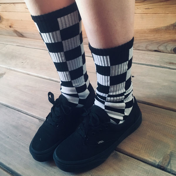 Calcetin Negro Blanco cuadros Skate Socks Race Color Negro Blanco
